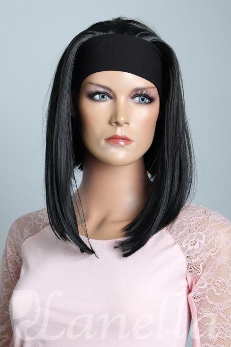 Černá paruka s čelenkou Lanella KN14