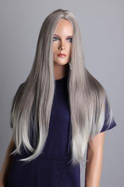 Dámská šedá blond extra dlouhá paruka Lanella DN23
